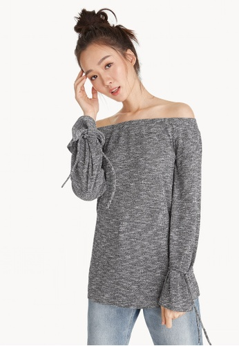 Pomelo grey Off Shoulder Wrist Tie Top 87955AA2306021GS_1