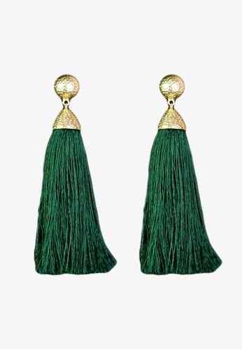 Zaryluq green Long Tassel Earrings in Foliage 187E3ACFD14444GS_1