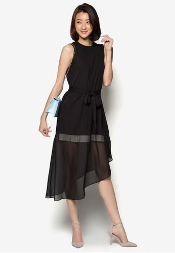 不規則薄zalora 台灣門市紗A 字洋裝, 服飾, 洋裝