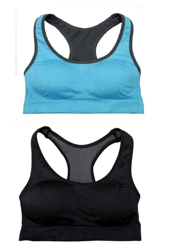 YSoCool black and blue Set of 2 Women Active Workout Cut Out Back Stylish Yoga Sports Bra (Blue Black) D1056USFB58056GS_1