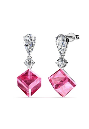 Her Jewellery silver Swarovski® Crystals - Crystal Hook Earrings (18K White Gold Plated) Her Jewellery HE581AC0RCCZMY_1