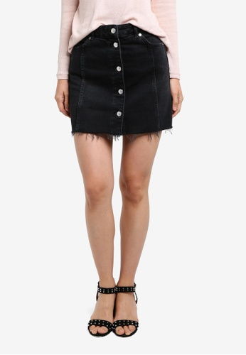 TOPSHOP black MOTO Button Through Denim Mini Skirt TO412AA0RZEZMY_1