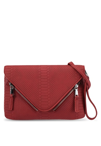 Something Borrowed red Zip Detail Clutch 59CC8ZZD53A89BGS_1