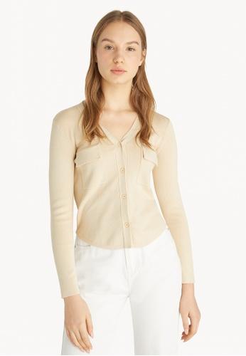 Pomelo beige Double Pocket Knit Cardigan - Beige 7C07BAAEB4864EGS_1