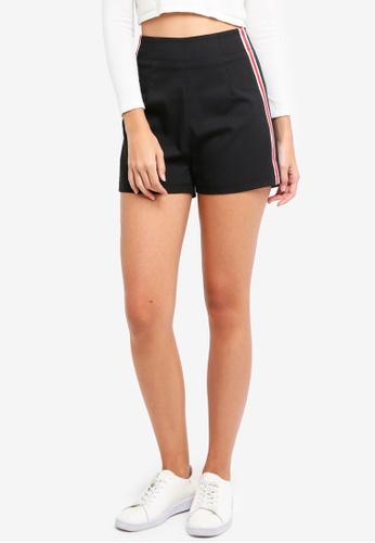ZALORA black High Waisted Shorts With Side Stripe B7C6EAA57ECBFFGS_1