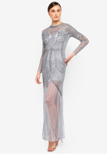 Frock and Frill grey Fleur Sequined Maxi Dress With Sheer Skirt And Front Split 47047AA0A2063FGS_1