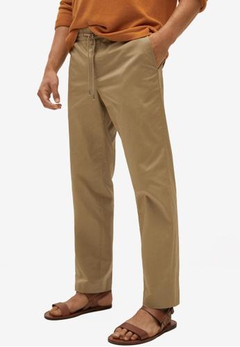 MANGO Man 米褐色 Straight 短版棉 長褲 4BFF9AA104BBC5GS_1