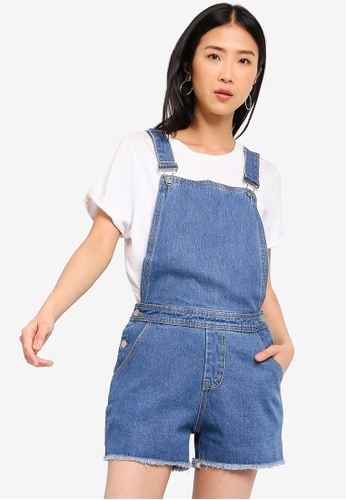 ZALORA BASICS blue Basic Denim Dungaree A0F4AAA6EBDF90GS_1