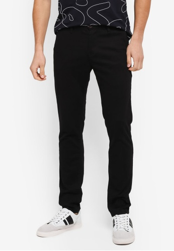 UniqTee 黑色 Slim Chinos With Striped Waistband UN097AA0SYTVMY_1