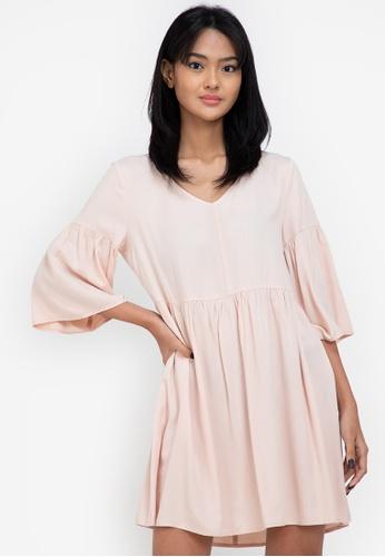 ZALORA BASICS beige Flare Sleeve Babydoll Dress BC2A7AA967A3E2GS_1