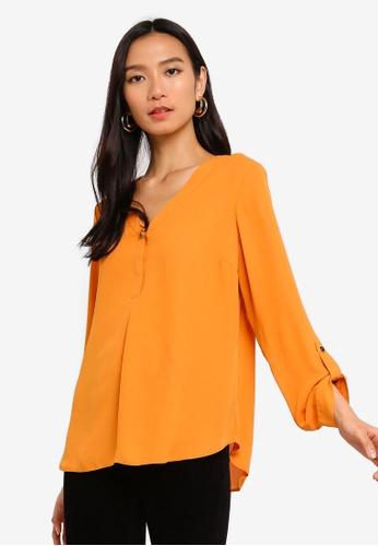 8b49fa91617ee1 Buy Dorothy Perkins Mango Button Roll Sleeve Shirt Online on ZALORA  Singapore