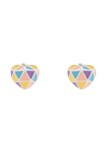 彩色心形搪瓷耳釘, 飾品配件, esprit台灣官網耳釘