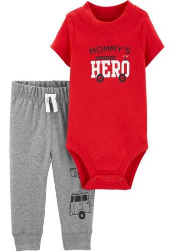 Carter's red CARTER'S Boy Mommy Hero Bodysuit Pant Set 55548KA799E76AGS_1