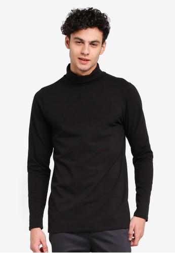Factorie black Funnel Neck Long Sleeve Tee C597CAA8341634GS_1
