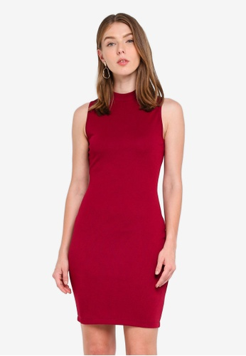 ZALORA red High Neck Bodycon Dress 65B66AA89239F4GS_1