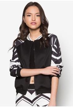 Abstract Printed Bomber Jacket