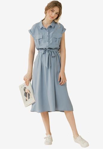 Eyescream blue Pocketed Shirt Dress 086E1AA67CDBA0GS_1