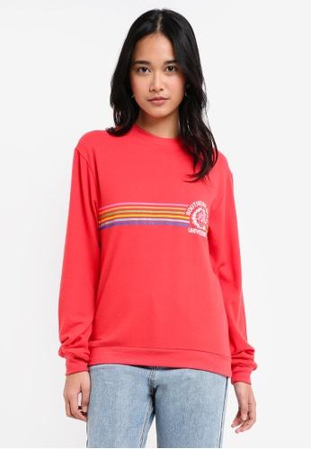 TOPSHOP red 'Southern State' Slogan Sweatshirt EA95EAA47F9161GS_1