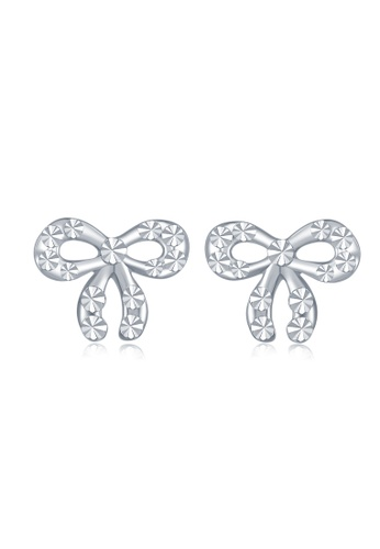 MaBelle silver 18K White Gold Faceted Ribbon Bow Stud Earrings MA584AC2W72WHK_1