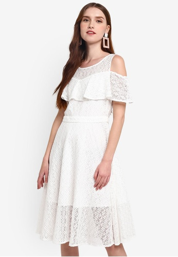 Hopeshow white Cold Shoulder Sleeveless Lace Midi Dress 152A3AADE72989GS_1