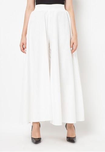 Meitavi's Rok Kulot Cotton Linen Culotte Skirt - White