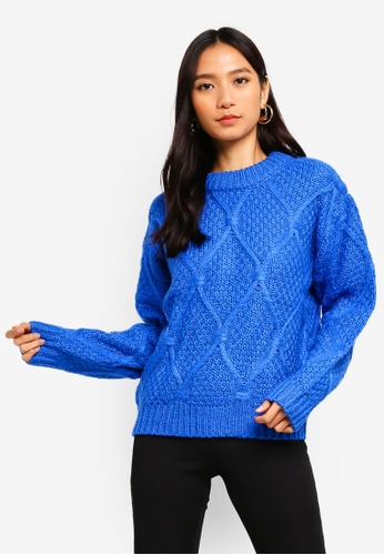 Pieces blue Gina Long Sleeve Jumper 8F18FAA48AC747GS_1