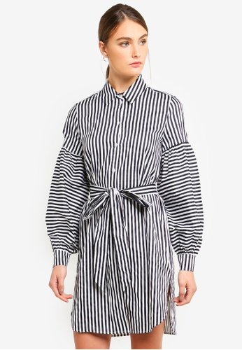 Armani Exchange navy Stripe Chemisier Dress 83C0BAA76D9D85GS_1