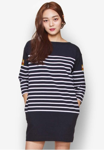Chesprit 京站ouette Stripe Dress, 服飾, 洋裝