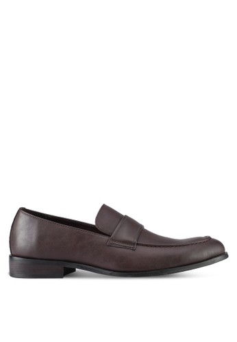 ZALORA brown Faux Leather Slip On Dress Shoes CA79DSHFD6257AGS_1