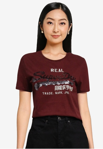 SUPERDRY 紅色 Vintage Logo Sequin T-Shirt - Original & Vintage 6A55CAA1CB4C4AGS_1