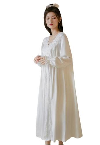 LYCKA white LML1310-Lady One Piece Casual Pajamas-White E3D7BAA1133898GS_1