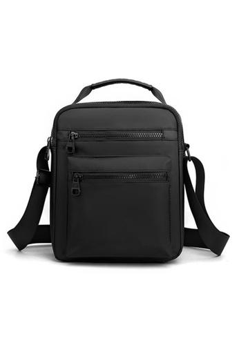 Lara black Men's Water Repellent Nylon Light Weight Zipper Cross-body Bag - Black 30841AC20AA5A0GS_1
