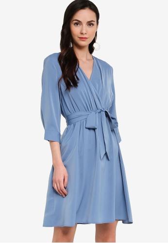 ZALORA WORK blue Wrap Dress With Self-Tie D0D62AAAB561EBGS_1