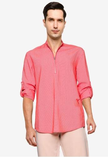 ZALORA BASICS red Half Zip Stand Collar Long Sleeve Shirt CBBC9AAEC6CF3AGS_1