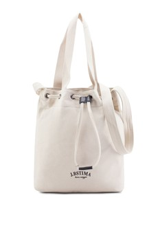 Bagstationz Canvas Convertible Bucket Bag With Top Handle