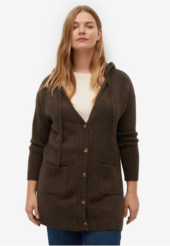 Violeta by MANGO brown Plus Size Knit Hood Cardigan F5543AAC0FDF71GS_1