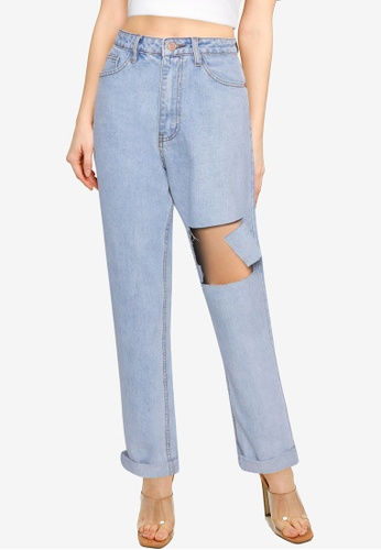 MISSGUIDED blue Wrath Blast Thigh Straight Leg Jeans D6F33AA2EBD781GS_1