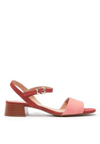 MARKS & SPENCER pink Open Toe Block Heel Ankle Strap Sandals 0E48FSH49C51D1GS_1