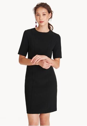 Pomelo black Mini Front Seam Shift Dress DD7B7AA9CE2E3EGS_1