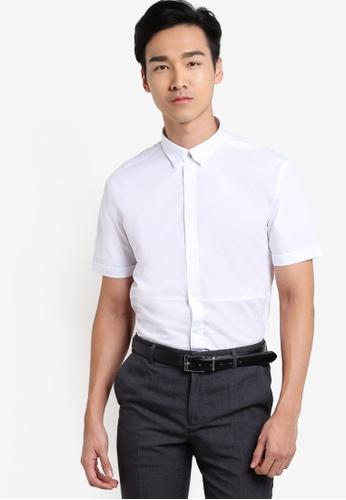 G2000 white Pattern Blocking Short Sleeve Shirt G2754AA50YTLMY_1