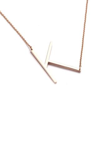 Glamorousky 銀色 時尚簡約鍍玫瑰金英文字母K 316L鋼吊墜配項鏈 D6A6CAC7D414F3GS_1