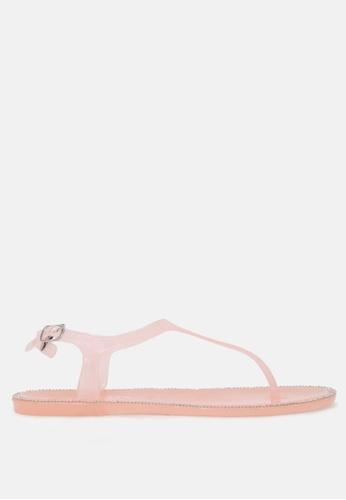 London Rag 米褐色 水晶透明T-带夹脚扣闭凉鞋 C3465SHC624E17GS_1