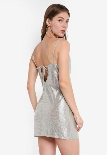 TOPSHOP silver Foil Cowl Mini Dress AD852AA6E77F24GS_1