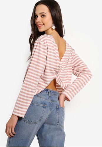Something Borrowed 粉紅色 Drop Back Twist Knot Sweater Top 3E4BFAA0436AEEGS_1
