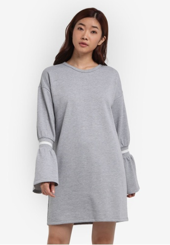 ZALORA grey Shift Dress With Rib Sleeves 93061AA3C68091GS_1