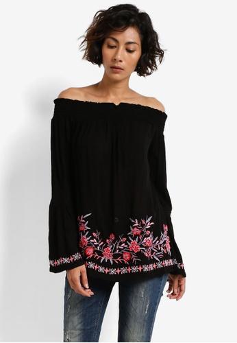 Miss Selfridge black Black Border Embroidered Bardot Top MI665AA0RCJFMY_1