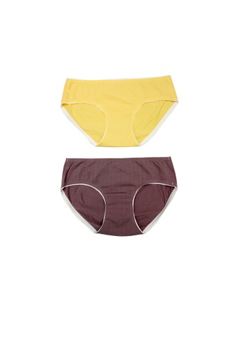 Kiss & Tell yellow and purple 2 Pack Lucy Heart Shape Cotton Panties Yellow in Purple A6465US3D563D4GS_1
