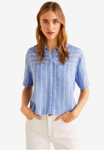 Mango blue Lightweight Chest-Pocket Shirt 5BCD5AAA1B3152GS_1