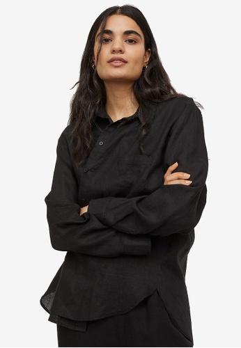 H&M black Linen Shirt B01DAAA45A69D5GS_1
