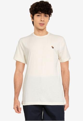 Abercrombie & Fitch beige Icon Crew T-Shirt 048BDAA69BA4E0GS_1